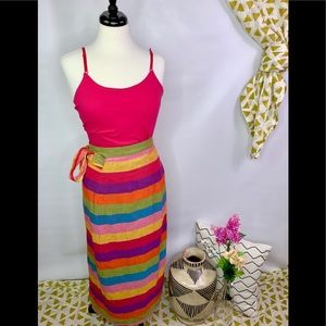 Vintage cotton rainbow wrap skirt L